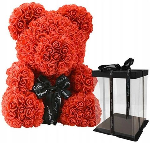 Miś z Róż Walentynki 25cm Rose Bear Czerwony
