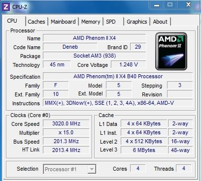 Процессор 4 ядра AMD Phenom II x4 B40 (955) 3GHz