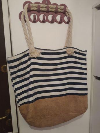 Torba plażowa duża torebka marynarski styl
