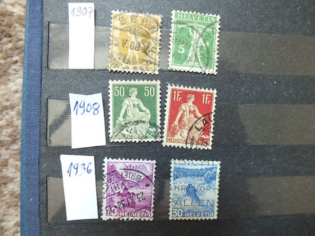 zestaw 6szt.stare znaczki 1907/1936r., Szwajcaria Helvetia kasowane