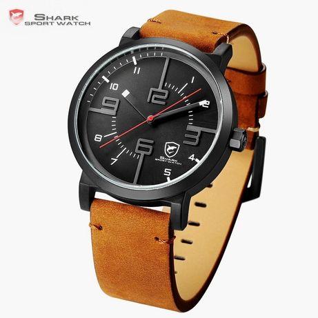 Nowy zegarek męski czarny SHARK Z013 brązowy skórzany !