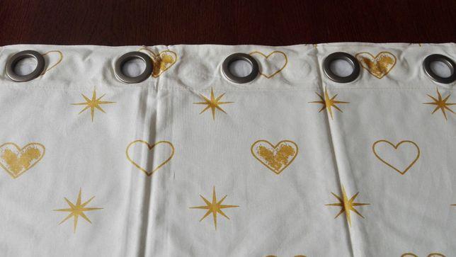 Zasłony bawełniane na kołach,150cm, złote gwiazdy