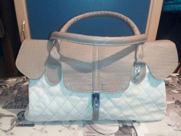 Женская сумочка белая кожзам