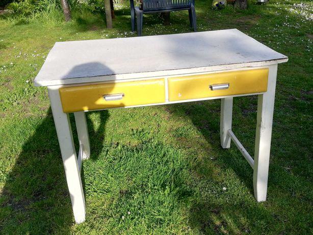 Stół prostokątny drewniany z szufladami 67x107  cm