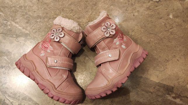 Buty zimowe śniegowce kozaki dziewczęce rozmiar 23
