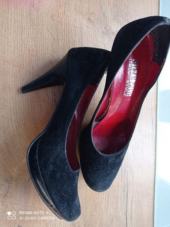Buty szpilki czarne zamsz. Rozmiar 40