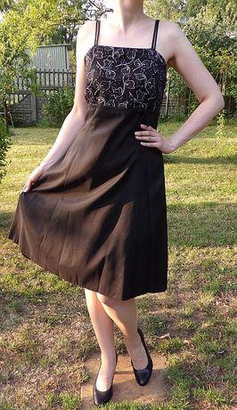 elegancka sukienka wesele sylwester studniówka impreza 38 40 czarna