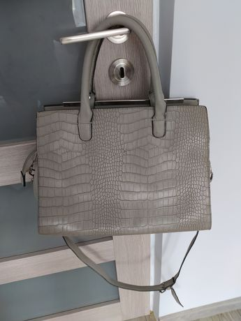 Torebka kuferek SinSay szara wężowa torba