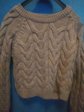 Костюм тёплый, шерсть (пудра) юбка, кофта  S-M