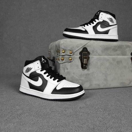 20443 Nike Air Jordan 1 Белые с чёрным найк аир джордан кроссовки