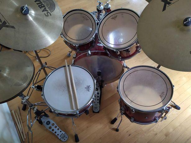 """Perkusja bębny """"Drumcraft"""" + talerze """"Sabian"""" w dobrym stanie"""