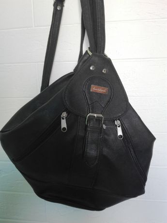 Рюкзак-сумка, экокожа, темно-коричневого цвета