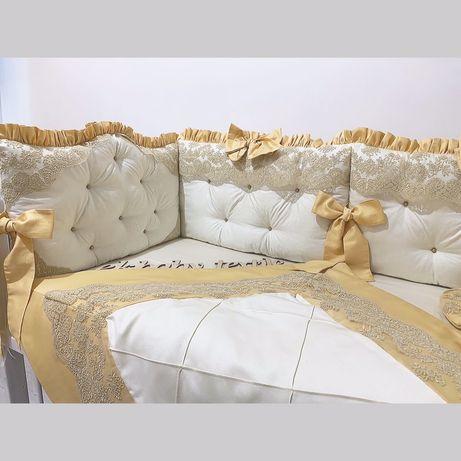 Бортики защита в кроватку постіль конверт одіяло