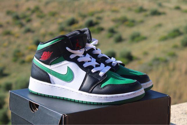 Jordan 1 mid green toe GS
