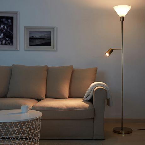Candeeiro de pé/leitura, dourado/vidro Ikea