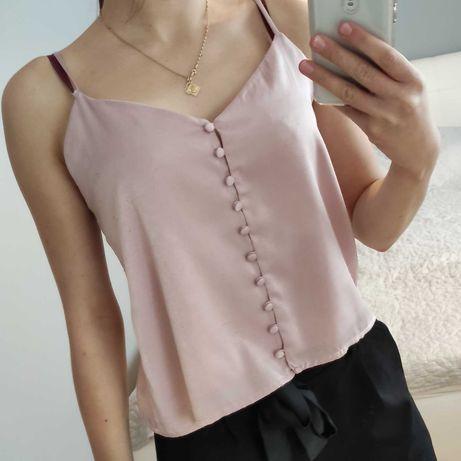 Pudrowo różowa bluzka, top na ramiączkach