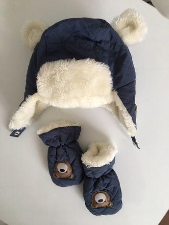 Шапка зимняя и варежки комплект на зиму ушанка