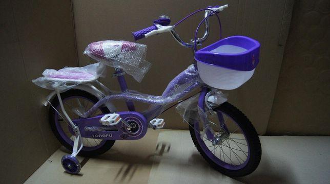 Rower, rowerek 16 cali fioletowo biały