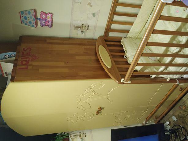 Meble drewniane dziecięce Gluck, pościel , łóżeczko