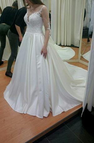 Suknia ślubna z 2-m trenem odpinanym! S/M (36/38) ecru/perła