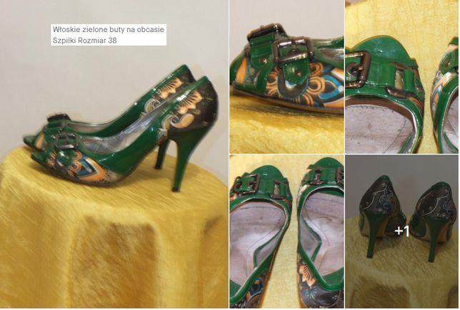 Włoskie zielone buty na obcasie Szpilki Rozmiar 38