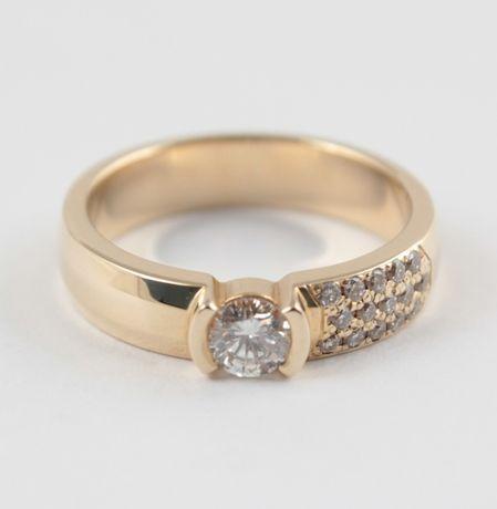 "Распродажа! Кольцо ""Комета"" из желтого золота с бриллиантами"