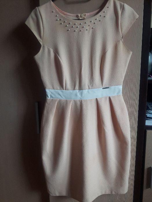 sukienka brzoskwiniowa elegancka wesele Łańcut - image 1