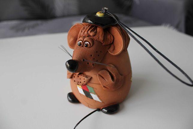 Dzwonek zawieszka gliniana mysz, gliniany dzwonek myszka