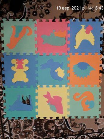 Детский розвивающий коврик мягкий пазл 80*80 см дитячий розвиваючий