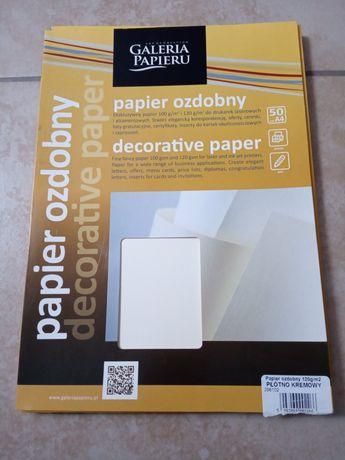 Papier ozdobny 120gm2 Płótno kremowe