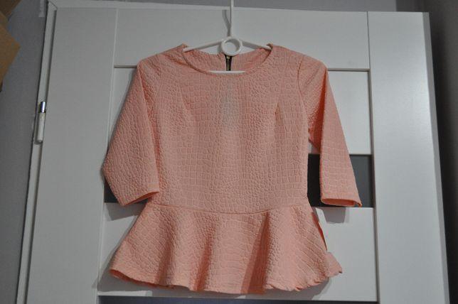 Pudrowo różowa bluzka z baskinką XS/34