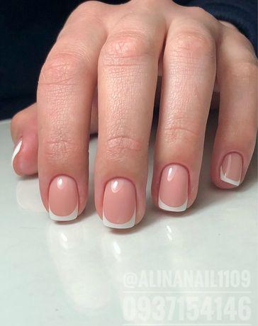 Наращивание ногтей гелем, покрытие гель-лаком