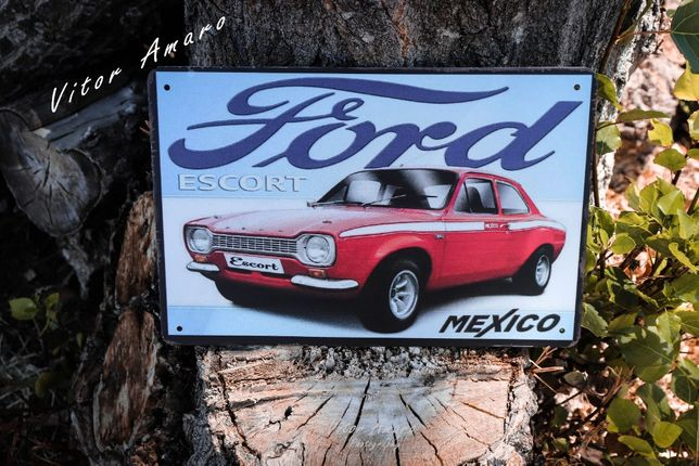 Placa/Chapa de Metal Vintage/Retro Ford Escort MK1 RS2000 | NOVA