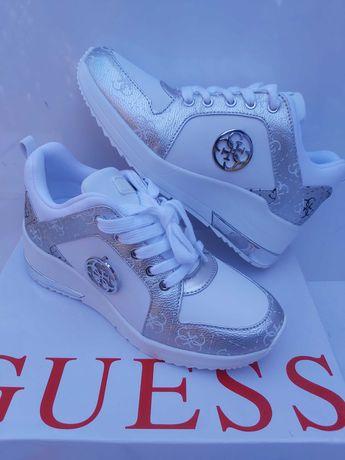 NOWE sneakersy GUESS białe srebrne półbuty trampki 37