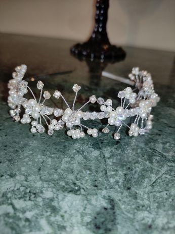 Tiara Bandolete Noiva Brilhantes Pérolas
