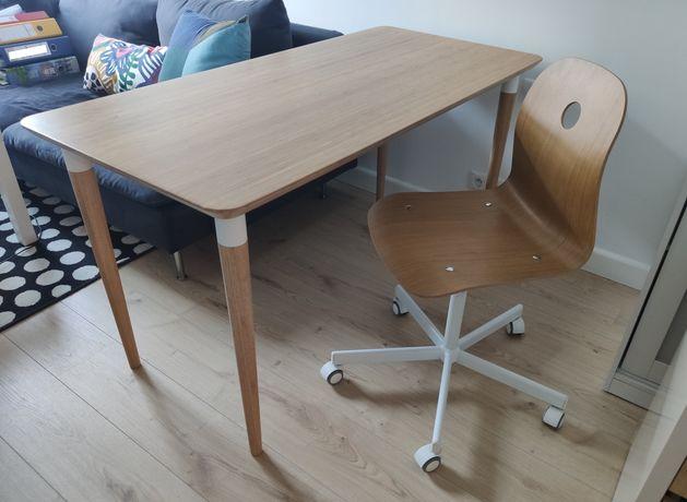 Zestaw IKEA biurko hilver + krzesło obrotowe VAGSBERG SPORREN bambus