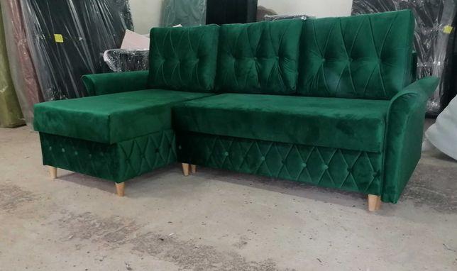 NA RATY GLAMOUR narożnik rozkładany rogówka sofa kanapa kryształki