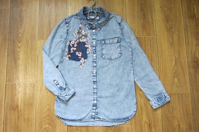 Нарядная джинсовая рубашка с вышивкой с длинным рукавом 11-12 лет 152