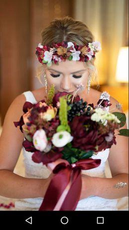Kwiaty ślub bukiet wianek butonierka boho rustykalny wstążki jak żywe