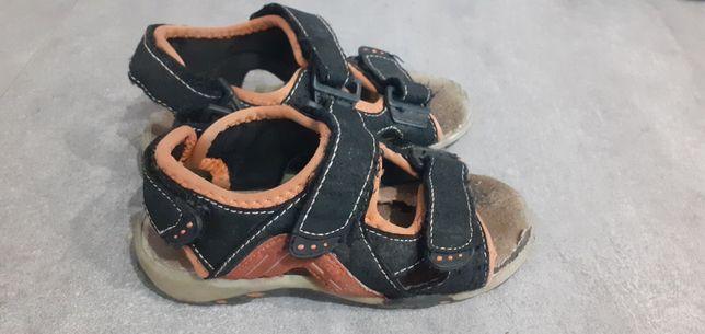 Sandałki czarno-pomarańczowe rozmiar 28 mextenso