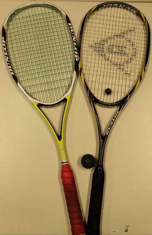 2 raquetes Dunlop squash + sacos e 1 raquete de tênis