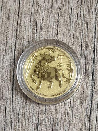 Золотая монета Австралии ЛунарIII - Год Быка 2021, 3.11г., проба 9999