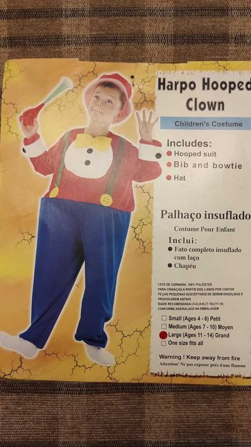Fato Carnaval / Halloween - Palhaço HARPO ( 11/14 Anos )