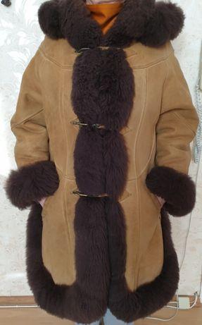 Кожаная женская дубленка на натуральном меху (овчина)