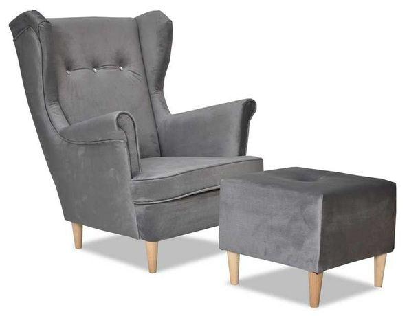 Fotel Uszak Ari z podnóżkiem szary ciemny popielaty wygodny stylowy