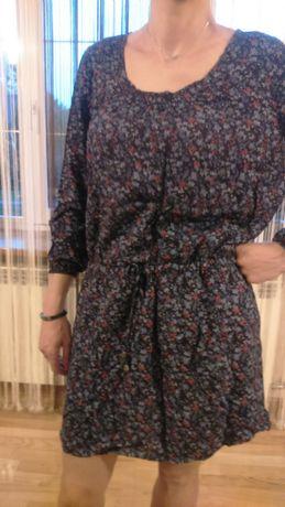 Sukienka granat w kwiatuszki ze sznurkiem XL-XXL ,tunika wiskoza