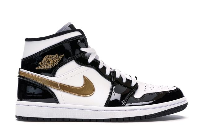 Jordan 1 Mid Patent Black White Gold