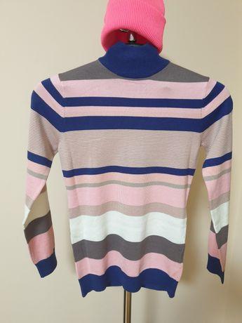 Полосатый гольф свитер с горлом р.152