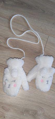 Rękawiczki niemowlęce ciepłe, puszyste kotki
