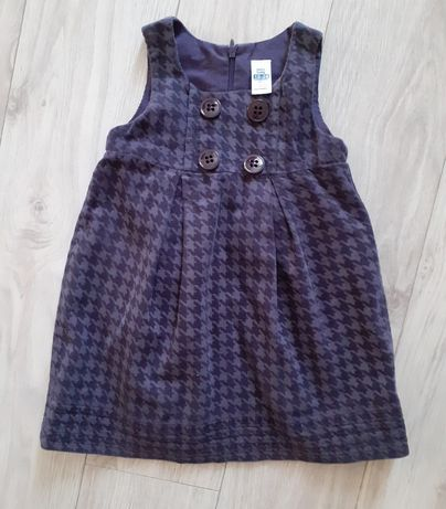 Zara sukienka jodełka fiolet 86 cm 12-28m cudo!
